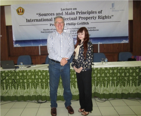 Intensive Course: Main Sources and Principles on International Intellectual Property Rights, Lecturer by Prof. Philip Griffith from Faculty of Law, University of Technology Sydney, Australia.